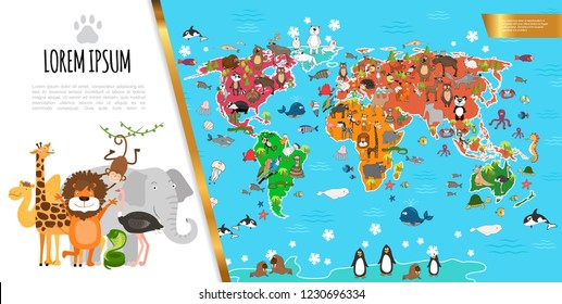 Flat Fauna World Map Composition