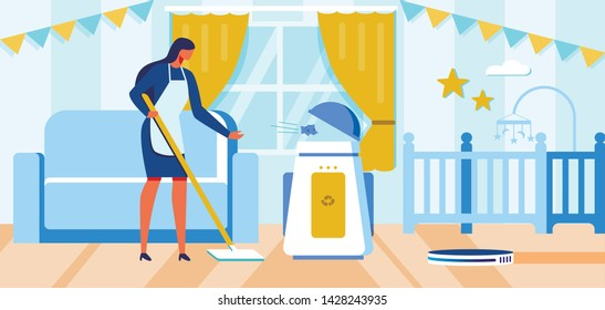 Flat Female Housemaid Cleaning Room Using Remote Control Robot Vacuum Cleaner and Smart Trash Can Cartoon. Housewife AI Helpers. Household Chores Automation. Vector Robotics in Daily Life Illustration