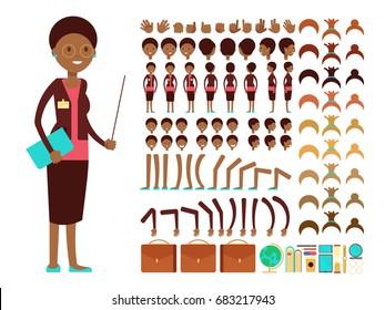 Flat female teacher or professor character creation vector constructor. Teacher cartoon person woman, character lady body parts teacher illustration