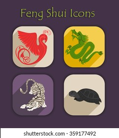 Flat Feng Shui icons. Set of color vector Chinese elements and symbols.