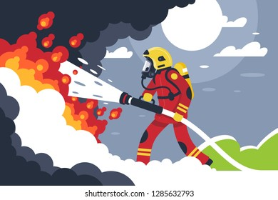 Flat fire fighting man puts out fire. Concept brave profession, helping service with burn. Vector illustration.