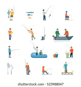 Flat Fisherman with fish or in boat, holding net or fishing rod vector illustration icon set. Vacation concept.