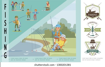 Flat fishing hobby concept with fishers catch fish in lake and fishermen in different situations vector illustration
