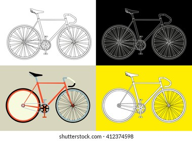 Flat fixed gear bicycle vector illustration fixed gear bike set