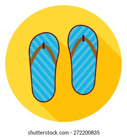 Flat Flip Flops Shoes Circle Icon with Long Shadow. Vector Illustration of Fashion Shoes Flat Stylized