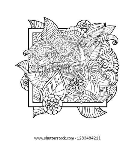 Flat Floral Layout Zentangle Plants Leaves Stock Vector Royalty