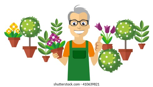 Flat Florist. Colorful Flowers and Little Trees on Background. Vector Illustration
