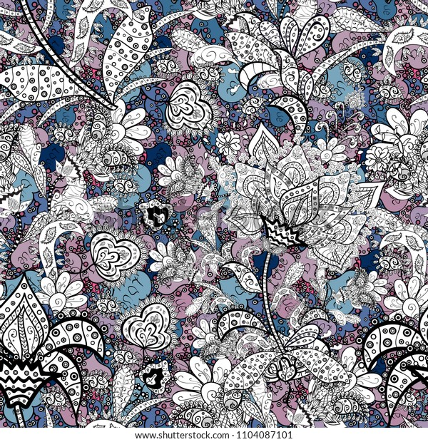 Flat Flower Elements Design. Seamless Floral Pattern in Vector illustration. Flowers on white, black and blue colors. Colour Spring Theme seamless pattern Background.