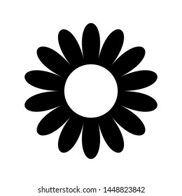 flat flower icon silhouette isolated on white. Cute retro design.