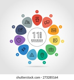 Flat flower shaped abstract presentation infographic chart. Numbered with icons. Isolated on white background. Vector graphic template.