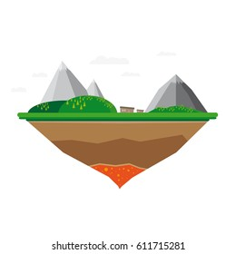 Flat Flying Island With Mountains, Trees, Meadow And Building