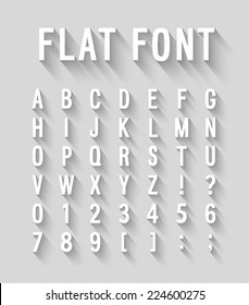 Flat font with long shadow effect. Vector illustration.