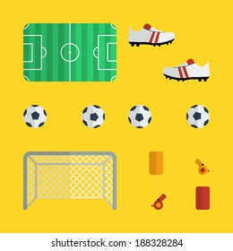 Flat football icons design with yellow background