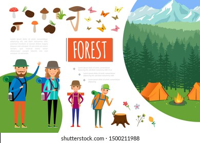 Flat forest adventure composition with family goes hiking camp bonfire mushrooms flowers butterflies vector illustration