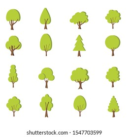 Flat forest tree icon. Variety of hand drawn deciduous trees illustration. Pine, spruce, oak, birch, poplar, chestnut, trunk, aspen, alder, palm apple tree Vector illustration.