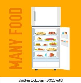 Flat fridge full of many food background concept. Vector illustration design