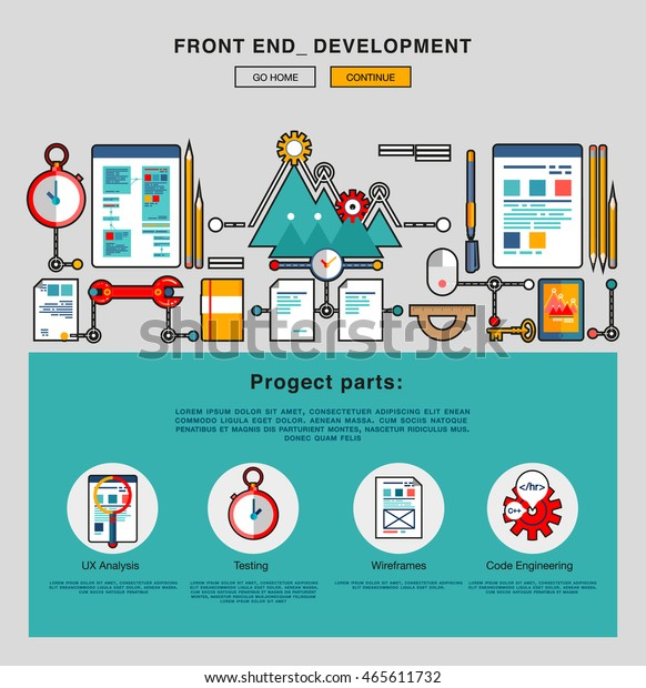 Flat Front End Development Application Programming Stock Vector Royalty Free 465611732