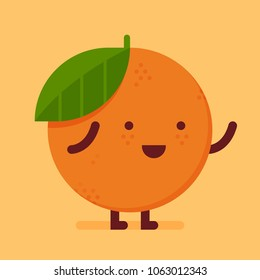 Flat fruit with happy face