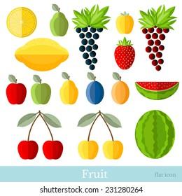 flat fruit set on white