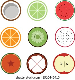 Flat fruit vector (coconut, lime, watermelon, orange, kiwi, dragon fruit, papaya, mangosteen, and apple) editable for any use.