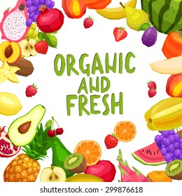 Flat Fruits Background With Text. Organic And Fresh Fruits. Healthy And Vegetarian Food Concept. Healthy Lifestyle