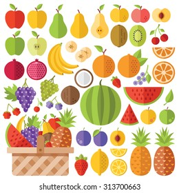 Flat fruits icons set. Colorful flat design concepts for web banners, web sites, printed materials, infographics. Creative vector flat icons and vector illustrations