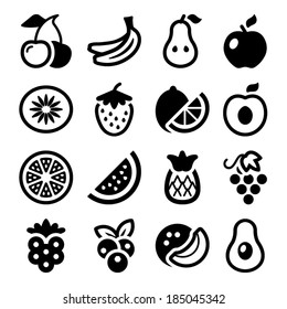 flat fruits icons set. isolated. black color