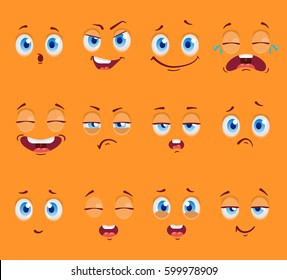 Flat funny cartoon faces with emotions. Vector illustration