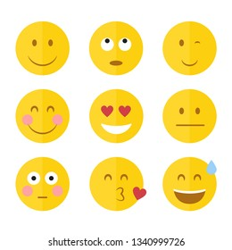 Flat funny emoticons with hearts