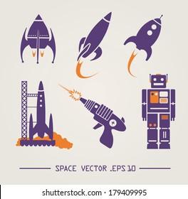 Flat future vintage space designs. Vector