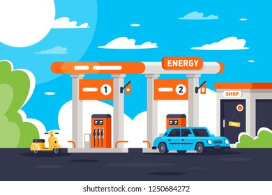 Flat gas station with shop, modern urban car, moped. Concept eco vehicle refueling, top-up. Vector illustration.