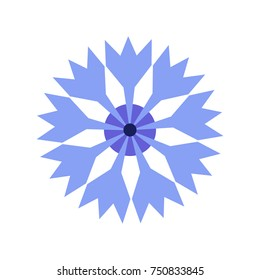 a flat geometric illustration of a cornflower; an icon of a field blue flower; simple flat design; a bachelor flower symbol; a national sign of Estonia