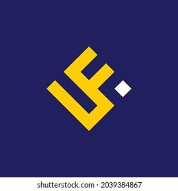 Flat Geometric Initial Letter L F logo