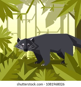 Flat geometric jungle background with Binturong