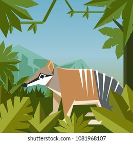 Flat geometric jungle background with Numbat