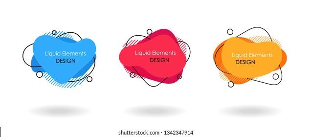 Flat geometric liquid shapes set, fluid color, brochure flyer cover design element, text bubble background