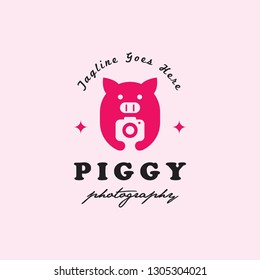 flat geometric pig hold camera photography logo icon vector template