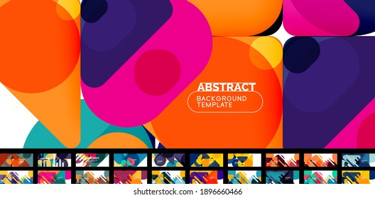 Flat geometric round shapes and dynamic lines, bright colors. Abstract background set. Vector illustrations for placards, brochures, posters and banners