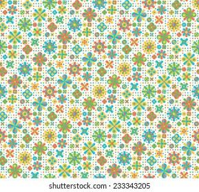 Flat geometric seamless pattern on white background