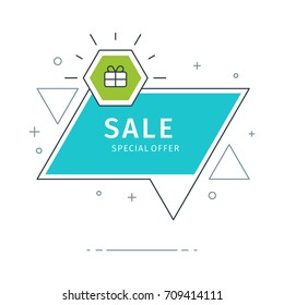 Flat geometric vector banners. Trendy style sale speech bubble design and place for text.