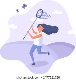 Flat girl catching butterflies in a butterfly net. Purple flat style illustration on isolated background.