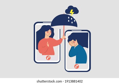 Flat Girl comforts her unhappy best friend over the phone. Female consoles, takes care of women with mental problems. Supporting people with depression or stress online. Psychological issues concept.