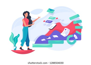 Flat girl and data with message, graph, papper work. Concept abstract young woman character at digital workspace. Vector illustration.