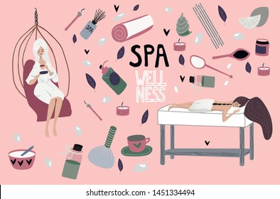 Flat girl relaxing after spa. Set of elements:aromatherapy, honey therapy, body care, Thai massage, meditation. girl is lying at the massage table on hot stone massage.  Beauty salon, wellness center