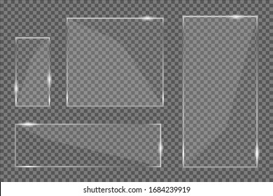 Flat glass plates set. Windows banners on transparent background. Reflection 3d plate, clear mirrors, window. Glitter rectangle display Glare glass frame. Vector