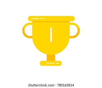 Flat gold trophy cup. Premium quality. Modern flat design graphic elements. Shiny golden winner cup. Cold cup icon. Vector illustration.