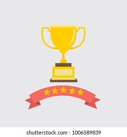 Flat gold Trophy with ribbon and five stars vector illustration.Award and success concept.Golden cup for winner.