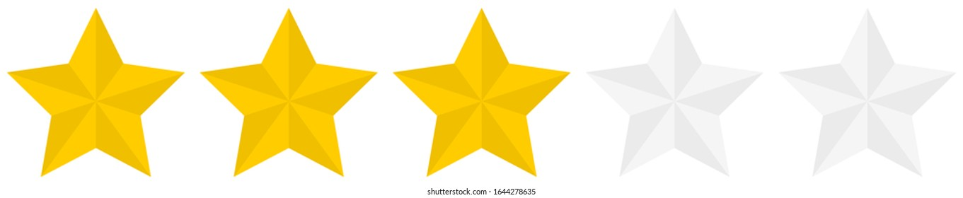 Flat golden 3 star rating icon isolated on a white background. EPS10 vector file
