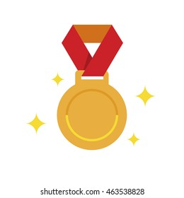 Flat golden medal