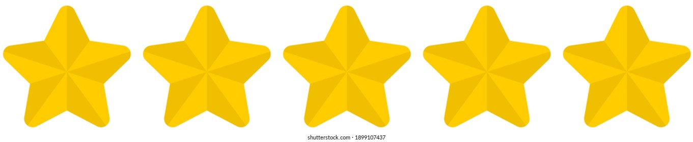 Flat golden rounded 5 star rating symbol isolated on a white background. Vector illustration.